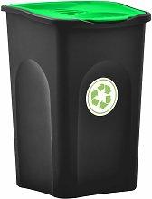 Cubo de basura con tapa de bisagra 50 L negro y