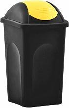 Cubo de basura con tapa oscilante 60 L negro y