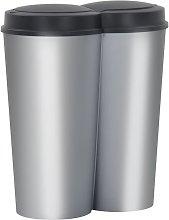 Cubo de basura doble plateado y negro 50 L - Negro