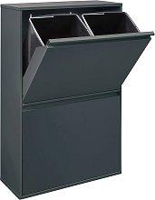 Cubo de basura y reciclaje de acero Antracita 2