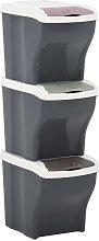 Cubos de basura apilables 3 piezas gris oscuro 60 L