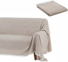 Cubre sofá beige de algodón y poliéster de