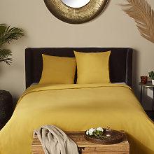 Cubrecama de algodón lavado ecológico amarillo