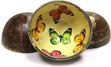 Cuencos de madera de coco customizados mariposas