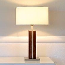 Dana - lámpara de sobremesa, pie de madera maciza