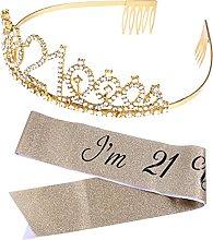 DealMux - Juego de 2 bandas de tiara dorada para