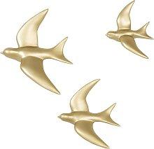 Decoración de pared con 3 pájaros dorados