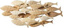 Decoración de pared con peces de albizia 104x49
