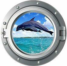 Delfín, pegatina, calcomanía, vida marina,