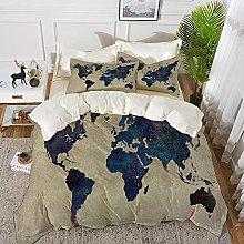 Derun Juego de Fundas de edredón,Mapa del Mundo