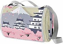Desheze Manta de Playa Castillo japonés Manta de