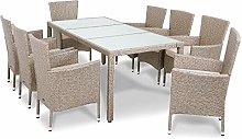 Deuba Conjunto de mesa y silla de poliratán 8+1