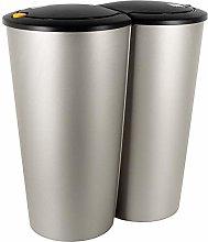 Deuba Cubo de basura Plata 50L 2x25L basurero