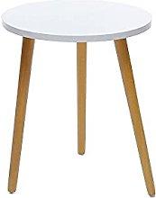 DHTOMC Mesa de café redonda de madera nórdica,