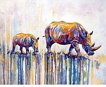 Diamond Painting Rinoceronte Colorido Diamont