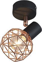 Diseño Foco moderno negro/cobre - MESH Acero