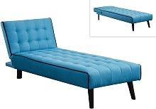 Diván cama BAYOU de tela - Azul y ribete negro