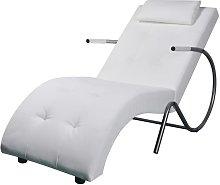 Diván con almohada de cuero sintético blanco -