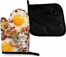 Divertido alimento, tocino y huevos, pimienta