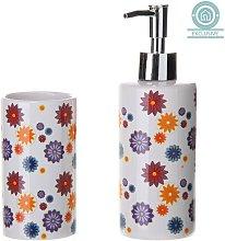 Dosificador de jabón alegre con vaso con diseño