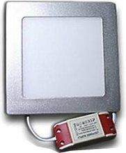 Downlight LED cuadrado 12W Aro Plata   Blanco