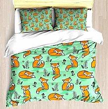 Dreamy Fox in Green - Juego de funda nórdica
