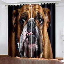 DRFQSK 3D Arte De Perro Animal Patrón Cortinas