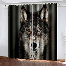 DRFQSK 3D Lobo Animal Patrón Cortinas Salon