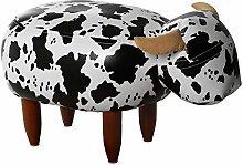 DRW Puf Infantil Vaca de Tela y Polipiel con Patas