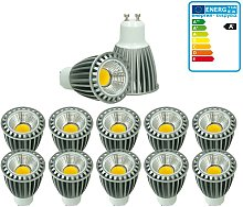 ECD Germany 10 x LED Spot regulable 9W COB GU10 -