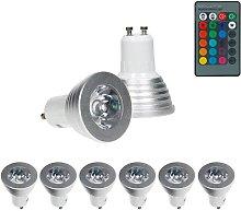 ECD Germany 6x LED Spot regulable 3W GU10 RGB -