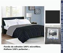 Edredon Negro/Gris Cama 135Cm