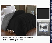 Edredon Negro/Gris Cama 90Cm