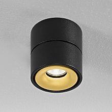 Egger Clippo foco de techo LED, negro-oro, 2.700K
