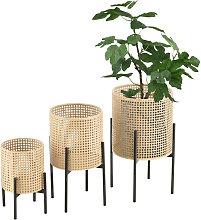 [en.casa] - Set de 3 x Soportes de Flores Walhain - con Macetero - Estantes para plantas - Estilo decorativo - Accesorio Hogar - Metal - Negro y Color de arena