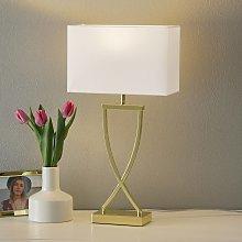 Encantadora lámp. de mesa textil Anni latón