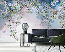 Eqwr Papel Pintado De Lujo Con Flores Y Pájaros