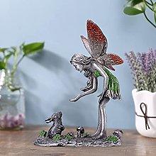 Escultura de Hadas de Flores de Metal, Estatua de