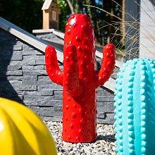 Escultura jardín moderno cactus 50 cm rojo