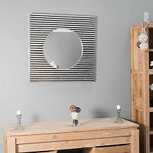 Espejo art déco cuadrado de madera con pátina