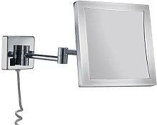 Espejo aumento 5x cuadrado led 4w cromo -