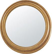 Espejo convexo de paulonia y metal dorado con