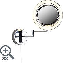 Espejo de baño de diseño cromado LED orientable