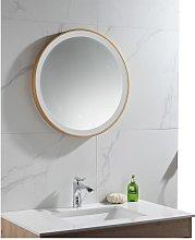Espejo de baño redondo con luces led NUMEA dorado