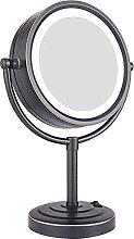 Espejo de maquillaje de mesa con iluminación LED