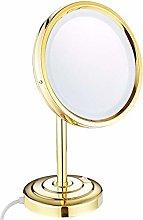 Espejo de maquillaje de mesa con luz y aumento,