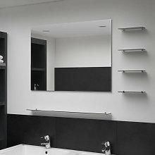 Espejo de pared con 5 estantes plateado 80x60 cm