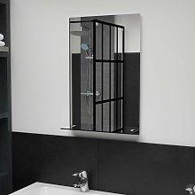 Espejo de pared con estante de vidrio templado