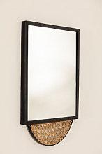 Espejo de Pared cuadrado en Ratán y Metal