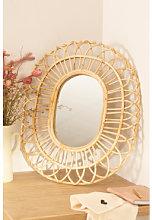 Espejo de Pared Ovalado en Ratán (60,5x51,5 cm)